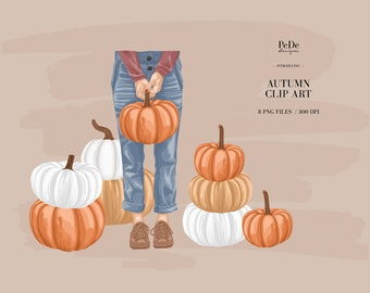 BUY 3 PAY FOR 2, Autumn Clip Art, fall, fashion illustration, planner stickers, instagram highlight cover,  girl with pumpkin, download