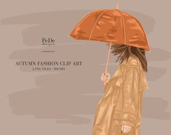 BUY 3 PAY FOR 2, Autumn Clip Art, fall, fashion illustration, planner stickers, instagram highlight cover,  girl with umbrella, download
