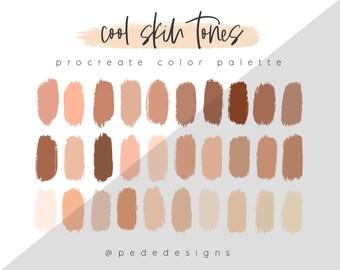 Cool Skin Tones - Procreate Color Palette, color swatches, iPad illustration, lettering, procreate art, download
