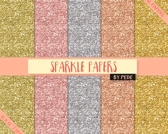 BUY 3 PAY FOR 2, Sparkle digital paper pack, gold glitter, golden silver rose glitter papers, sparkle texture, sparkly background, download