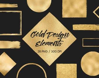 Des éléments de conception d'or, or brosse coups, clinquant, paillettes, cadres, cercles, carrés, or bannières, logo, blog, téléchargement