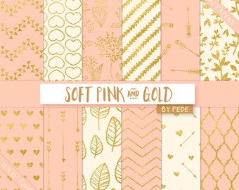 Soft pink and gold digital paper, gold digital papers, hearts, arrows, floral, leaves, quaterfoil, chevron, download