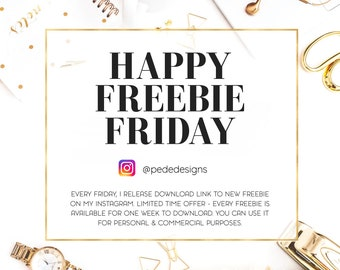 Happy Freebie Friday. For Personal & Commercial Purposes. Read Description For More. PeDeDesigns on Etsy.