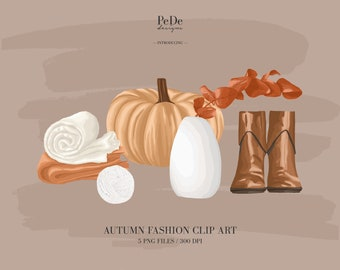 BUY 3 PAY FOR 2, Autumn Clip Art, individual elements, fashion illustration, planner stickers, instagram highlight cover, vase, download