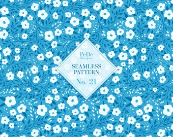 Seamless Pattern No. 21, floral background, blue botanical pattern, hand painted flowers, custom fabric design, download
