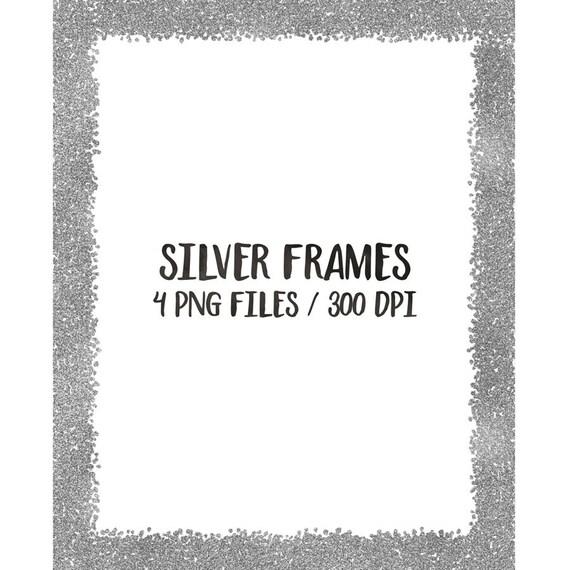 BUY 3 PAY FOR 2 Silver digital frames clip art glitter   Etsy
