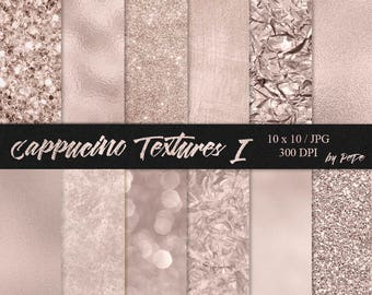 BUY 3 PAY FOR 2, Luxury cappucino digital paper pack, foil texture, glitter papers, wedding background, leaf foil, sparkly, download