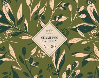 Seamless Pattern No. 30, floral background, botanical pattern, hand painted flowers and leafs, brush drawing, custom fabric design, download