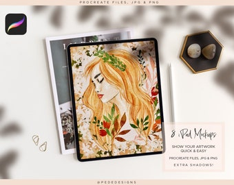 8 iPad mockups for Procreate, easy to use Procreate files, extra shadows jpg, png, photo mockup, showcase your digital artwork, download