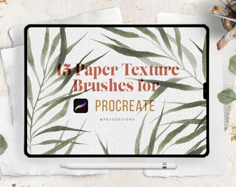 15 Paper Texture Brushes for Procreate, add realism into your digital art, procreate pack, iPad texture, watercolor, vintage, rough download