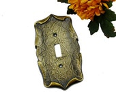 SALE Vintage Solid Brass Single Switchplate Cover, Textured Scroll Light Switch Cover, Vintage Home Decor, Outlet Plate, Brass Switchplate