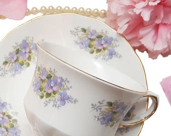 Queen Anne Pastel Purple Floral Teacup, Shabby Chic, Lilac Flowers, Afternoon Tea, Tea Lover Gift
