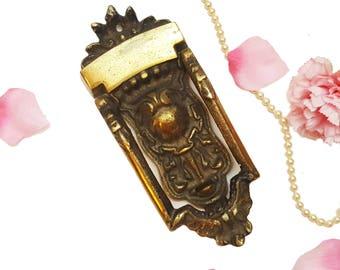 Ornate Solid Brass Vintage Door Knocker, Rectangular Door Knocker, Rustic Home Decor