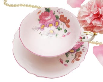 Pastel Pink Paragon Teacup with Pink Trim, Pink Floral Tea Cup, Bone China, Made in England