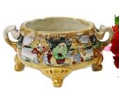 Antique Satsuma Jardinere Hand Painted, 19th Century Meiji Japan Moriage Vase, Handled Jardinere, Collector Satsuma, Japan Porcelain
