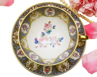 Hand Painted Winterling Teacup Made in Bavaria Germany, Periwinkle Blue Pink White Roses, Ornate Collectible Teacup