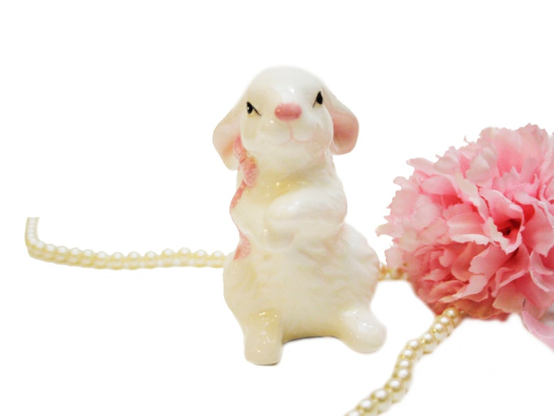 Gift for Her Vintage Hand Painted Rabbit Shaker Salt Pepper Shaker White Pink Bunny Shaker Collectible Made in Japan