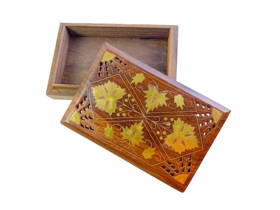 Handmade Jewelry Box Keepsake Box Pierced Wooden Trinket Box with Inlaid Brass