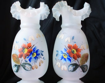 SALE Pair of Antique Floral Vases Victorian Glassware Clambroth Bristol Glass Vases - Ruffled Trim Vase Vintage Vase