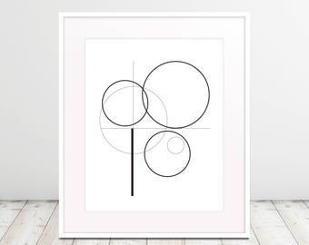 Lines and Circles, Fibonacci, Noir, Modern Art Black and White, Poster Art, Downloadable Digital Art Print