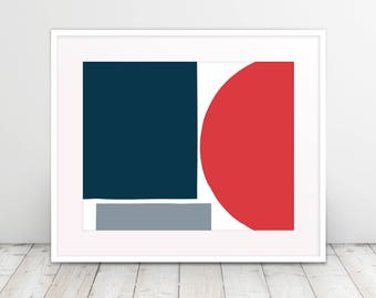 Red and Blue Color Blocks I, Abstract, Geometric, Modern Art, Black and White, Poster Art, Downloadable Digital Art Print