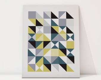 Mixed diagonal arrow chevron triangle geometric pattern, Black and White, Modern Art, Wall Art, Poster Art