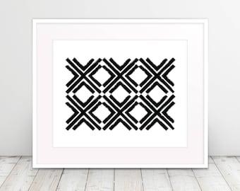 Distressed Cross Pattern, Abstract, Geometric, Modern Art, Black and White, Poster Art, Downloadable Digital Art Print