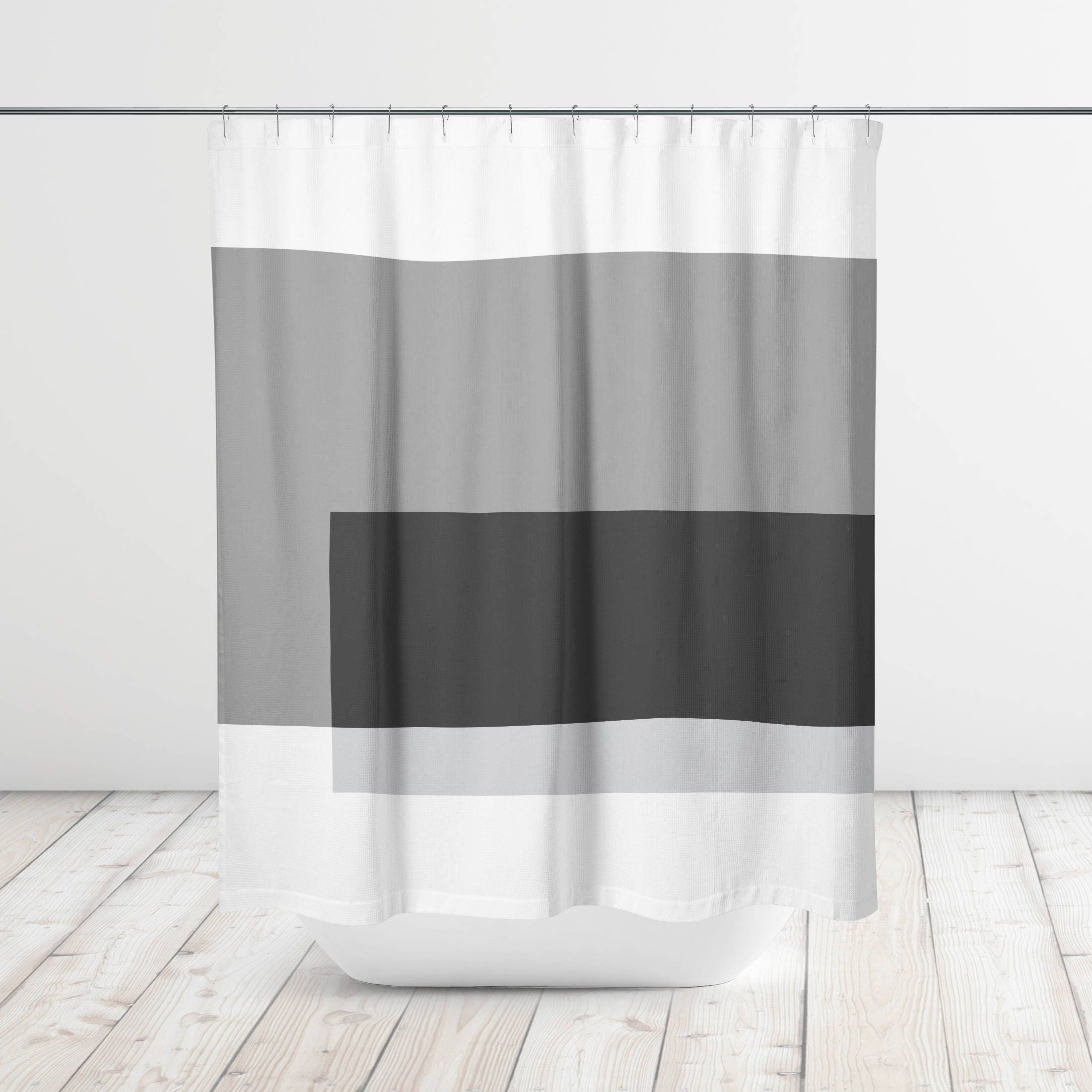 Geometric Color Block Overlay Modern Shower Curtain Bath