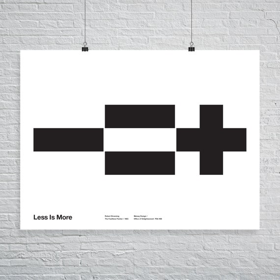 Less Is More.Less Is More Poster Math Icons Helvetica Typographic Quote Black And White Modern Art Mies Van Der Rohe Architecture Free Shipping
