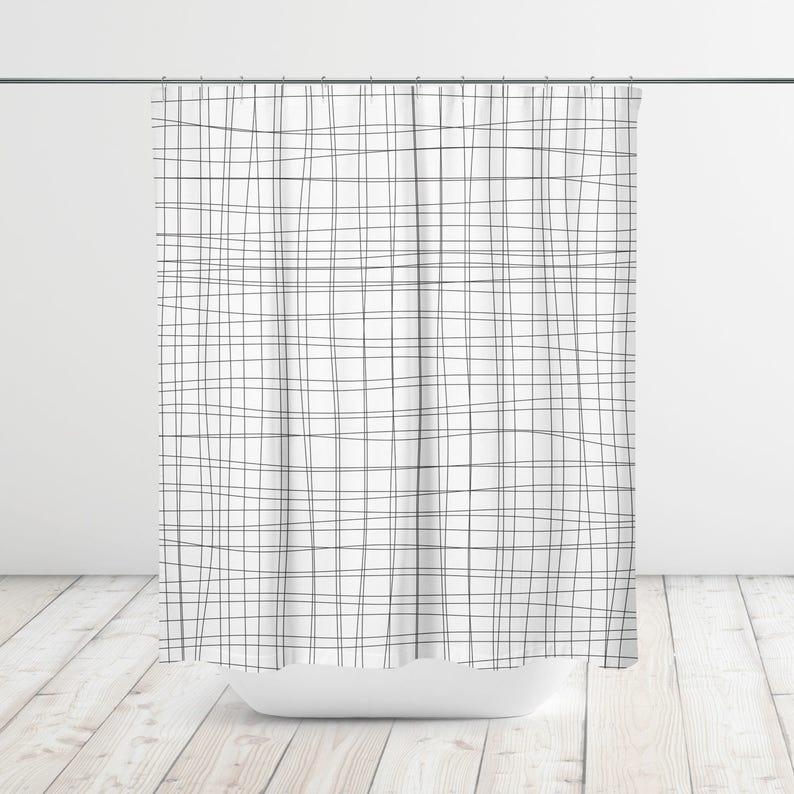 Organic Grid Lines Shower Curtain Bath Bathtub