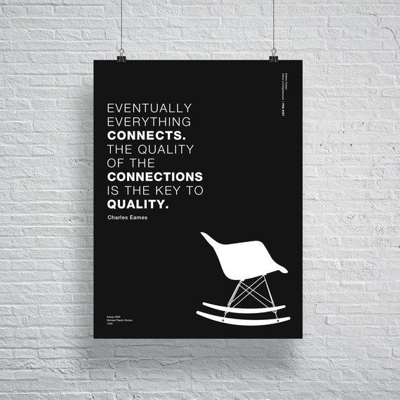 Charles and Ray Aemes Chair Interior Design Poster, Helvetica, Typographic,  Funny, Quote, Black and White, Modern Art, Print,Architecture
