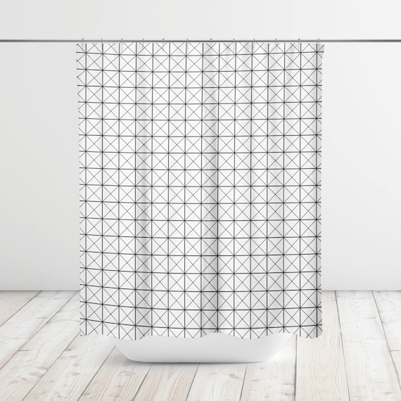 Cross Grid Arrow Chevron Modern Shower Curtain Bath