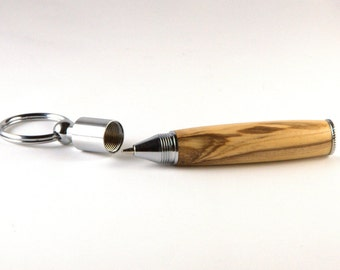 Bethlehem Olive Wood Chrome Key Chain Pen