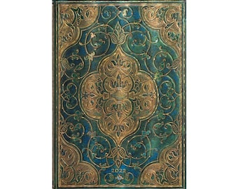 """2022 Paperblanks Ultra 2022 12- Month Planner - Turquoise Chronicles 7"""" x 9"""" Hardcover Book"""