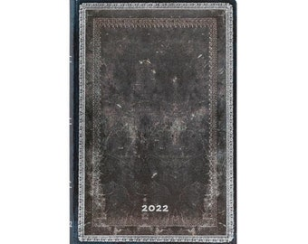 """2022 Paperblanks Mini Midnight Steel- Old Leather Collection 3 3/4"""" x 5 1/2"""" Hardcover 2022 12- Month Planner"""