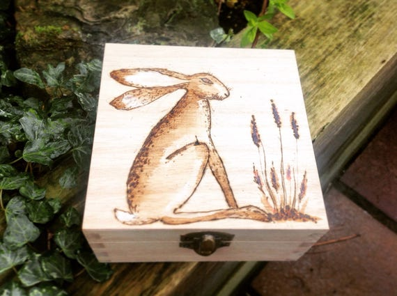 Trinket Box Hare Box Small Wooden Box Wooden Gift Unique Etsy