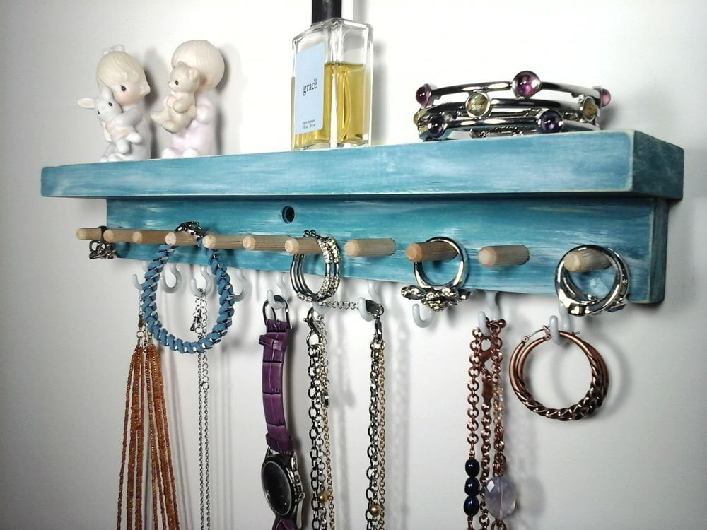 wall mount jewelry organizer hanging jewlery holder with etsy. Black Bedroom Furniture Sets. Home Design Ideas