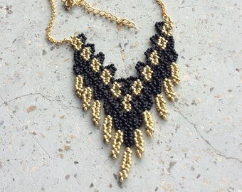 Black and gold woven necklace