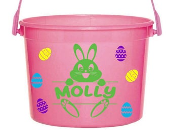 Personalized Easter Basket Pail Bunny
