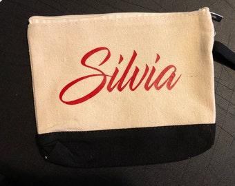 Personalized Canvas Wristlet Name Wallet Change Purse Makeup Bag