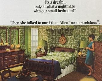 e1a584cd6a0a11 1968 Lot of 3 Ethan Allen Print Ads - Ethan Allen Custom Room Plan Furniture