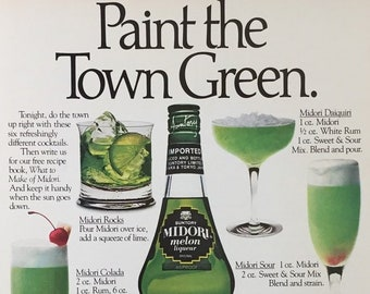 1980 Print Ad Old Suntory Midori Melon Liqueur ~ How to Go Through a Bottle