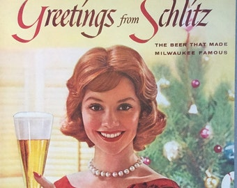 """1960 Schlitz Beer Print Ad - """"The Beer that made Milwaukee famous"""" - Christmas Ad"""