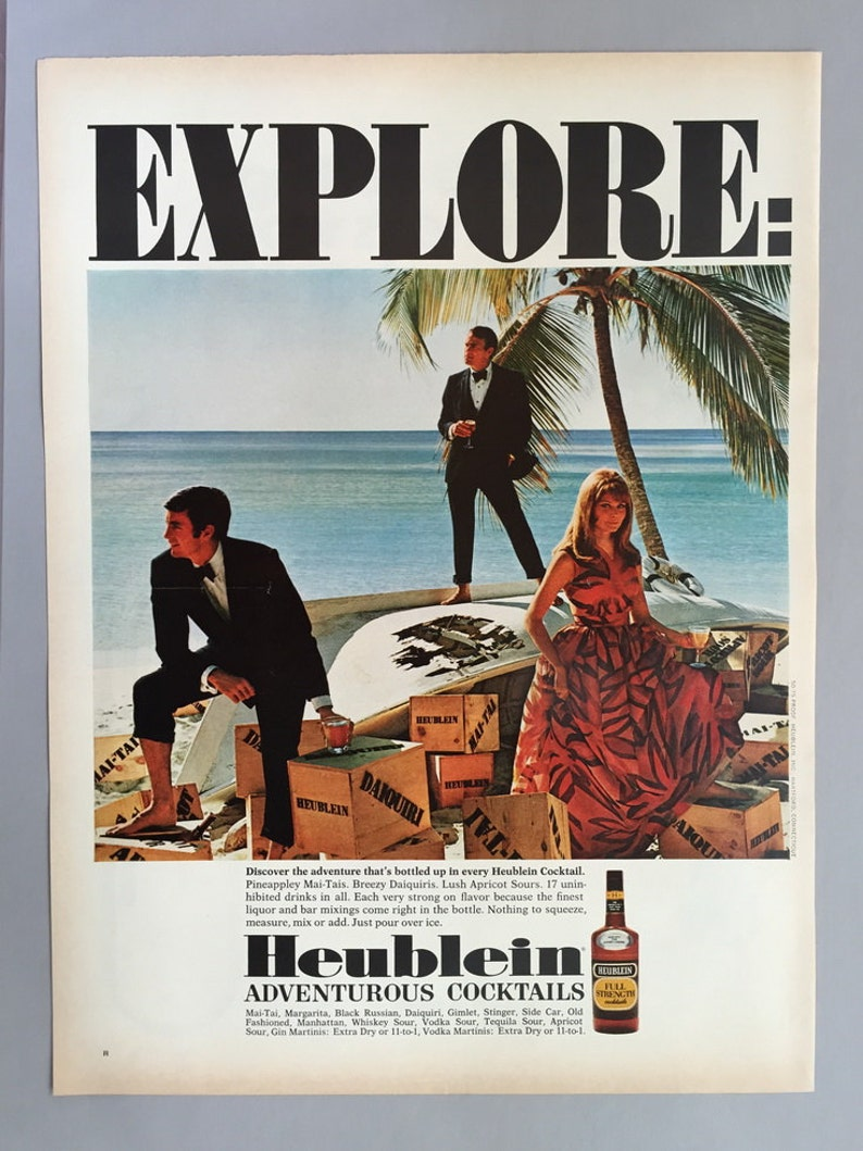 Lot of 2 1968 Heublein Cocktails and Daiquiris Print Ad - Voodoo