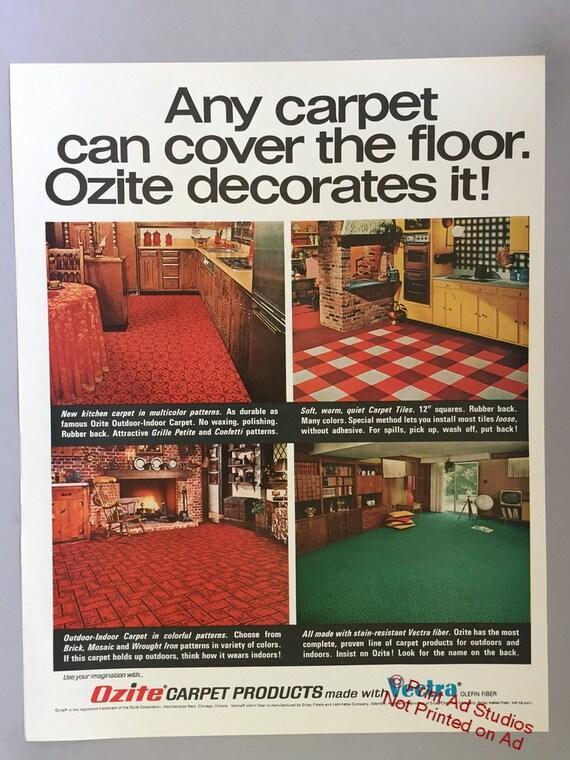 1967 Lot Of 2 Ozite Carpet Tiles Print Ads Vectra Fiber Etsy