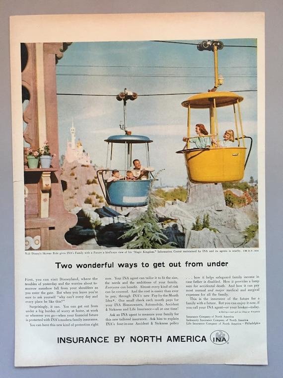 1958 Insurance Company of North America Print Ad Disney Land