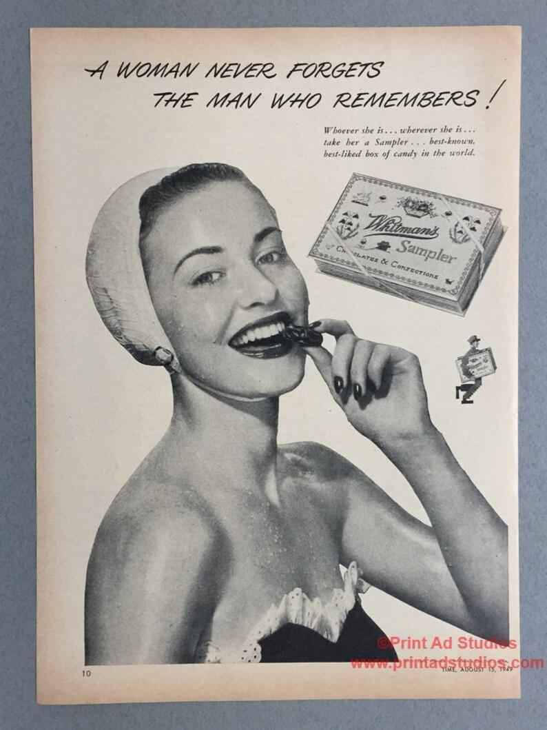 Vintage Chocolate Ad 1949 Whitman/'s Sampler Chocolates Print Ad