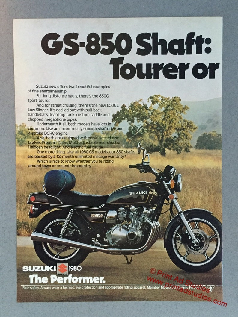 1980 Suzuki GS-850G and GS850GL Motorcycle Double Page Print Ad