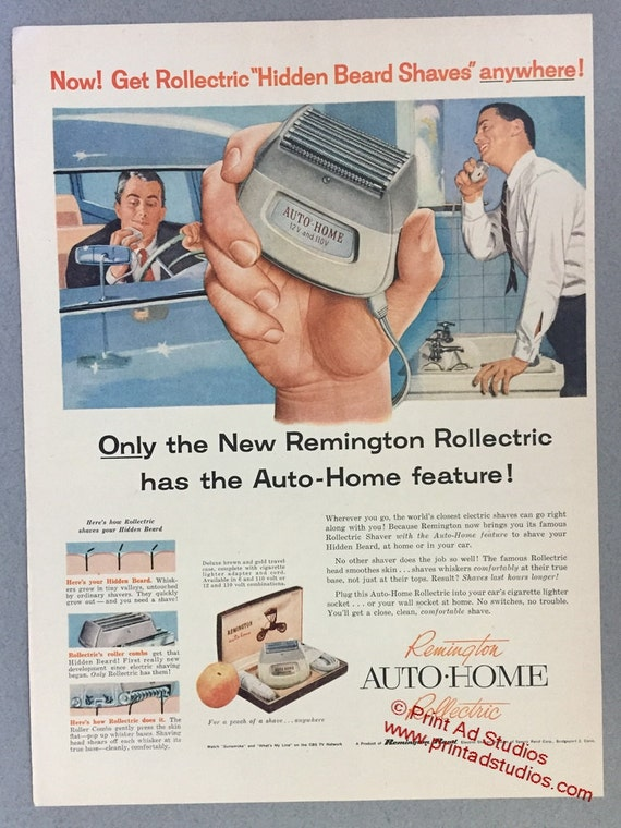 1957 Remington Rand Print Ad - Remington Rollectric Electric Razor - Home  or Auto