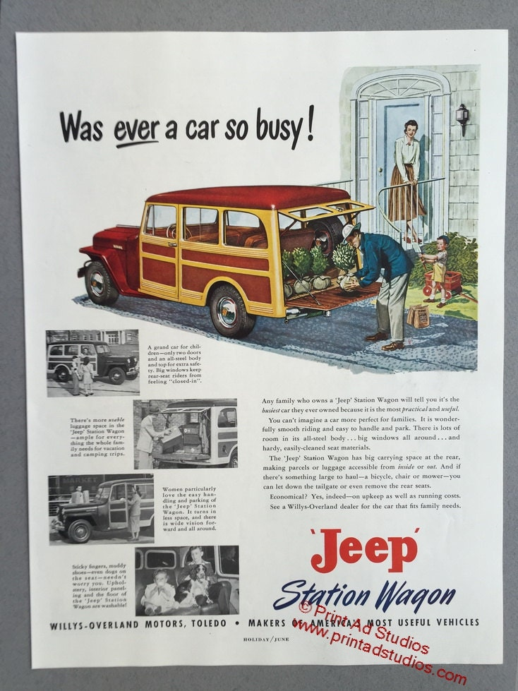1949 Jeep Station Wagon Print Ad - Willys-Overland Motors